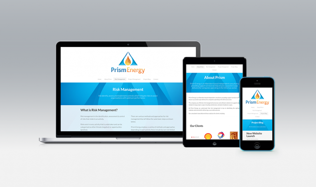 Prism Energy aberdeen responsive website design by web balance ltd